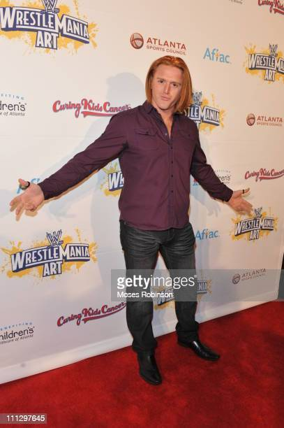 Wrestler Heath Slater attends WWE's 4th annual WrestleMania art exhibit and auction at The Egyptian Ballroom at Fox Theatre on March 30 2011 in...