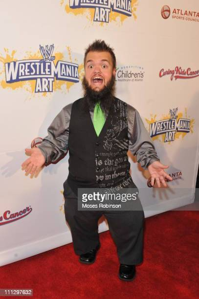 Wrestler Hornswoggle attends WWE's 4th annual WrestleMania art exhibit and auction at The Egyptian Ballroom at Fox Theatre on March 30 2011 in...