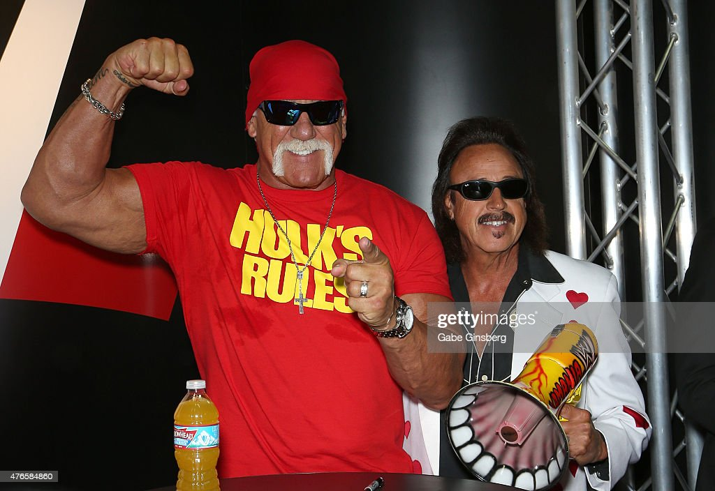 Wrestler Hulk Hogan (L) and wrestling manager Jimmy 'the Mouth of the South' Hart attend the Licensing Expo 2015 at the Mandalay Bay Convention Center on June 10, 2015 in Las Vegas, Nevada.