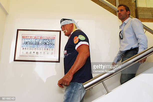 Wrestler Hulk Hogan arrives at a media opportunity with Sydney Roosters players at Roosters Headquarters on November 18 2009 in Sydney Australia