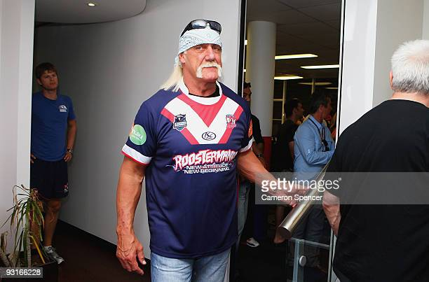 Wrestler Hulk Hogan exits a media opportunity with Sydney Roosters players at Roosters Headquarters on November 18 2009 in Sydney Australia