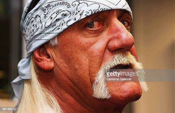 Wrestler Hulk Hogan is interviewed during a media opportunity with Sydney Roosters players at Roosters Headquarters on November 18 2009 in Sydney...