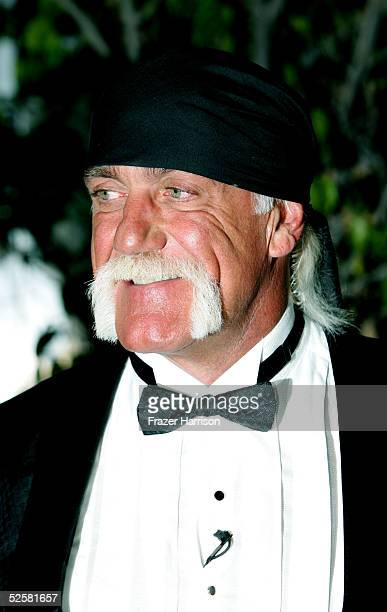 Wrestler Hulk Hogan who was inducted into the WWE Hall of Fame poses at Universal Amphitheatre on April 2 2005 in Universal City California