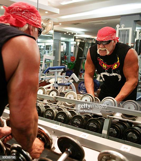 Wrestler Hulk Hogan works out in the gym after recently landing in Australia and ahead of his national tour, at City Gym on November 17, 2009 in...