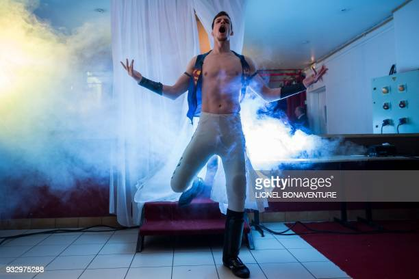A wrestler is pictured during a show on March 11 in Nanterre near Paris In Nanterre the French Association of Professional Wrestling revives French...