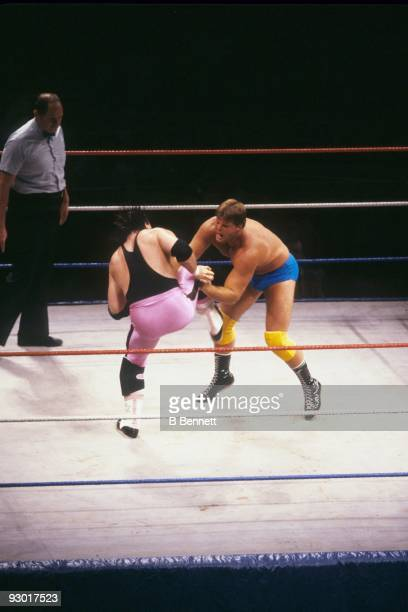 WWF Wrestler Jacques Rougeau puts the moves on Bret 'Hit Man' Hart during a WWF match on July 17 1987 at Nassau Coliseum in New York New York