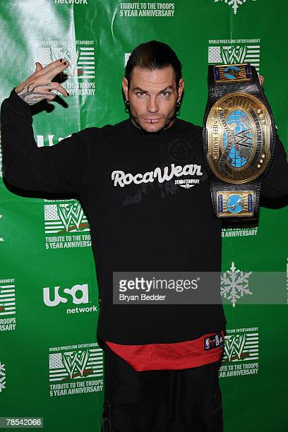 Wrestler Jeff Hardy attends the WWE and USA Network help US Marine Corp Toys for Tots Foundation event at the NBC Experience store on December 18...
