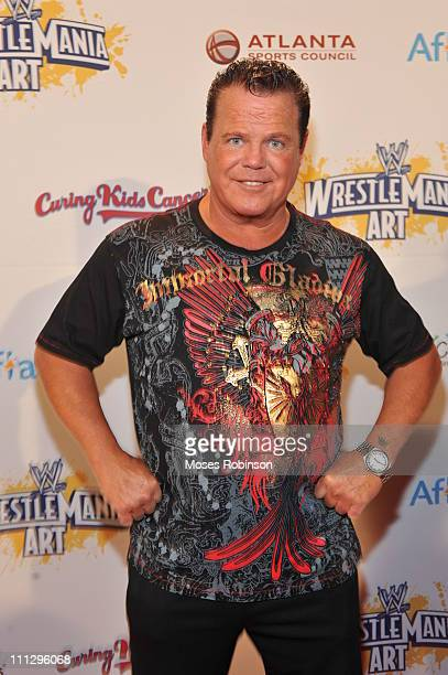 Wrestler Jerry Lawler attends WWE's 4th annual WrestleMania art exhibit and auction at The Egyptian Ballroom at Fox Theatre on March 30 2011 in...