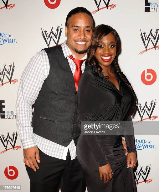 Wrestler Jimmy Uso and WWE Diva Naomi Knight attend the WWE SummerSlam VIP party at Beverly Hills Hotel on August 15, 2013 in Beverly Hills,...