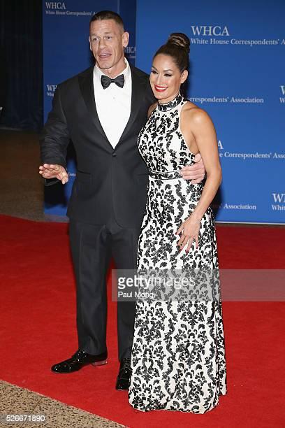 Wrestler John Cena and Nikki Bella attend the 102nd White House Correspondents' Association Dinner on April 30 2016 in Washington DC
