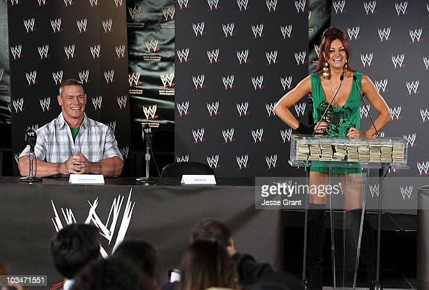 Wrestler John Cena and WWE diva Maria Kanellis attend a press conference announcing that WWE Chairman Vince McMahon will be giving away one million...