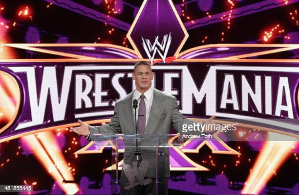 Wrestler John Cena attends the WrestleMania 30 press conference at the Hard Rock Cafe New York on April 1, 2014 in New York City.