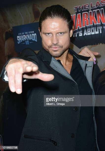 Wrestler John Hennigan arrives for the Premiere Of The Asylum And Syfy's 'The Last Sharknado It's About Time' held at Cinemark Playa Vista on August...