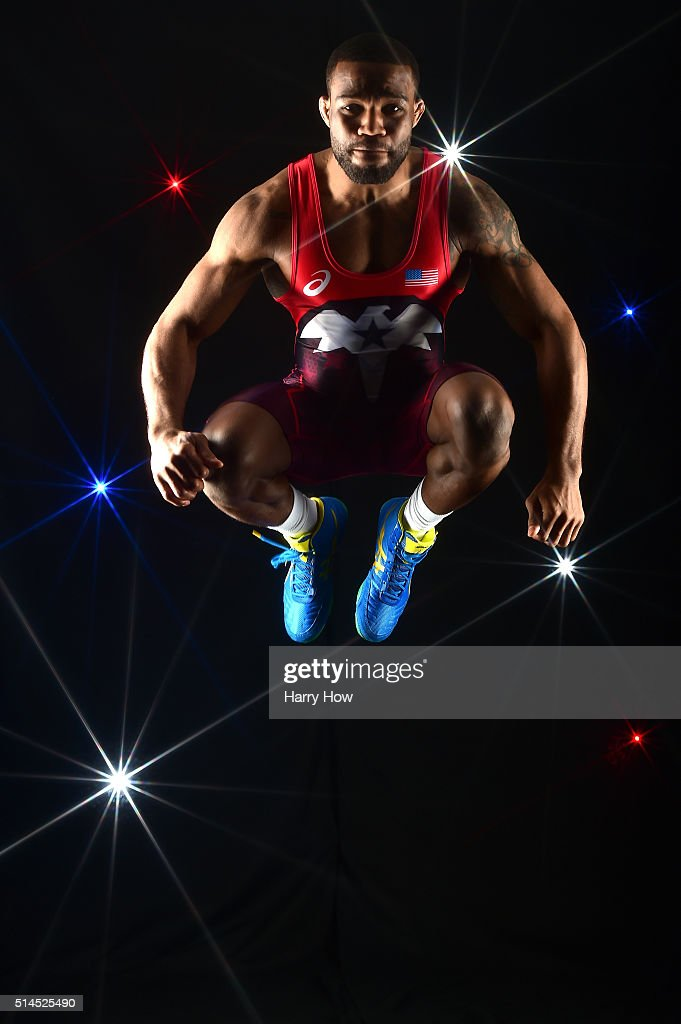 Wrestler Jordan Burroughs poses for a portrait at the 2016 Team USA Media Summit at The Beverly Hilton Hotel on March 9, 2016 in Beverly Hills, California.