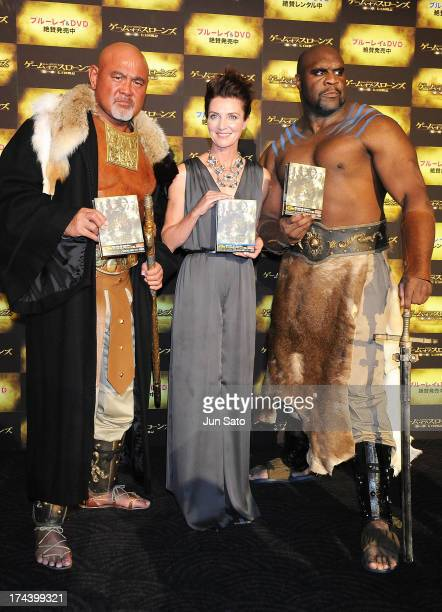 Wrestler Keiji Muto, Actress Michelle Fairley and Kickboxer and actor Bob Sapp attend the 'Game of Thrones' stage greeting at Toho Cinemas Roppongi...