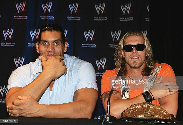 Wrestler Khali and Edge during the WWE Smackdown Photo Call at the Sheraton on the Park Hotel on June 15 2008 in Sydney Australia