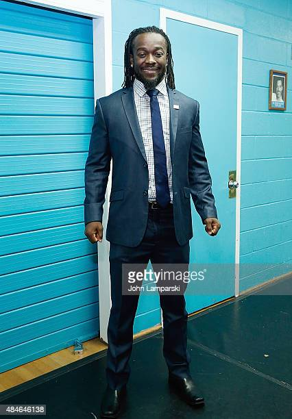 WWE wrestler Kofi Kingston attends WWE Facebook Dosomethingorg and GLAAD AntiBullying Event at Kips Bay Boys Girls Club on August 20 2015 in New York...