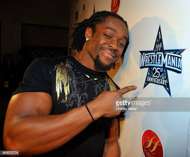 Wrestler Kofi Kingston attends WWE's opening night party honoring the 25th Anniversary of WrestleMania and 20th Century Fox/WWE's upcoming feature...