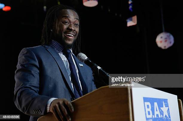 WWE wrestler Kofi Kingston speaks at the WWE Facebook Dosomethingorg and GLAAD AntiBullying Event at Kips Bay Boys Girls Club on August 20 2015 in...