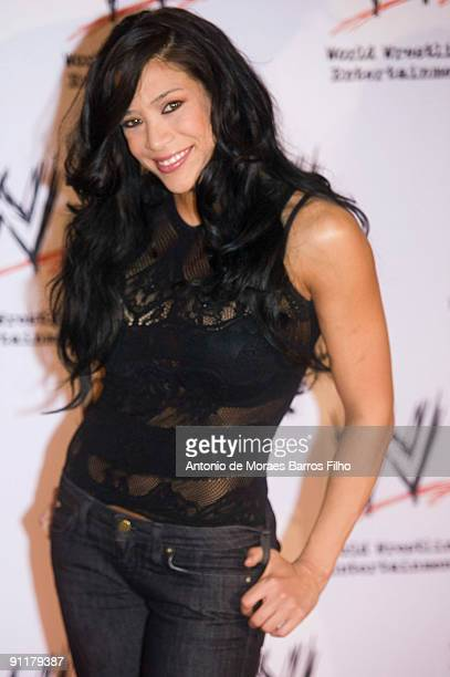 WWE wrestler Melina attends WWE SmackDown at Palais des Sports on September 26 2009 in Paris France