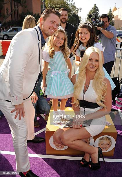 Wrestler Mike 'The Miz' Mizanin and Maryse Ouellet with Rosie McClelland and Sophia Grace Brownlee arrive at Nickelodeon's 26th Annual Kids' Choice...