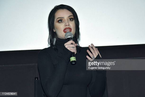 Wrestler Paige speaks at MGM Studios WWE and SheIs special screening of 'Fighting With My Family' at AMC 34th Street on February 12 2019 in New York...