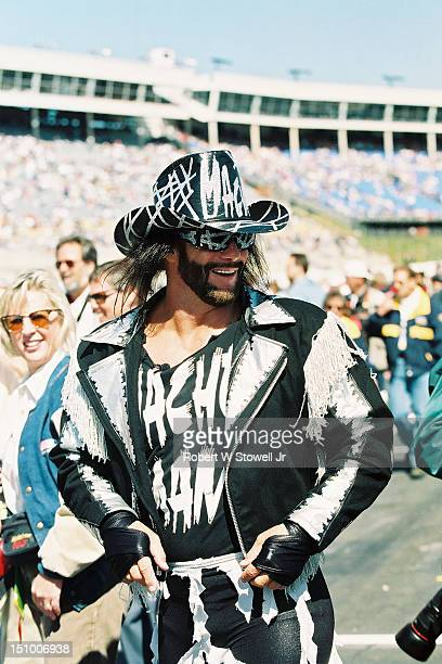WWF Wrestler Randy 'Macho Man' Savage cavorts on pit row at the Charlotte Motor Speedway Charlotte North Carolina 1996