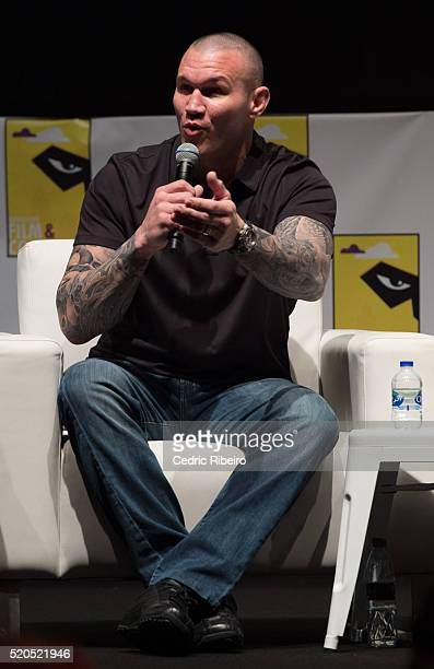 Wrestler Randy Orton speaks onstage at the press conference during MEFCC 2016 at Dubai World Trade Centre on April 8 2016 in Dubai United Arab...