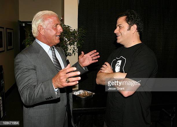Wrestler Ric Flair and television personality Jimmy Kimmel at WWE Friday Night SmackDown on June 3, 2008 at the Staples Center in Los Angeles,...