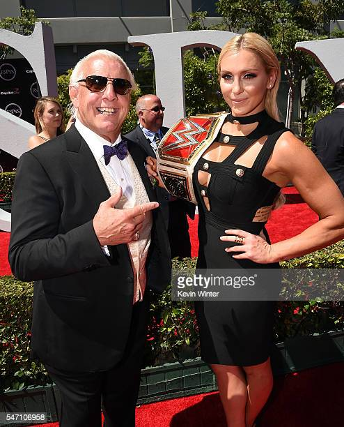 WWE wrestler Ric Flair and WWE Diva Charlotte attend the 2016 ESPYS at Microsoft Theater on July 13 2016 in Los Angeles California