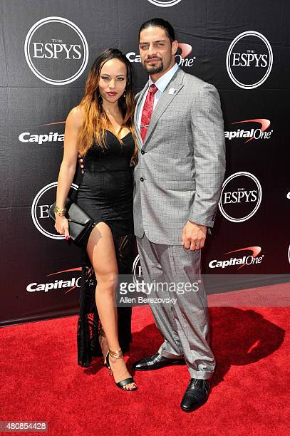 WWE wrestler Roman Reigns and model Galina Becker arrive at the 2015 ESPYS at Microsoft Theater on July 15 2015 in Los Angeles California