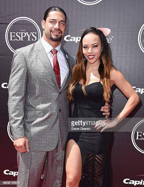 WWE wrestler Roman Reigns and model Galina Becker attend The 2015 ESPYS at Microsoft Theater on July 15 2015 in Los Angeles California
