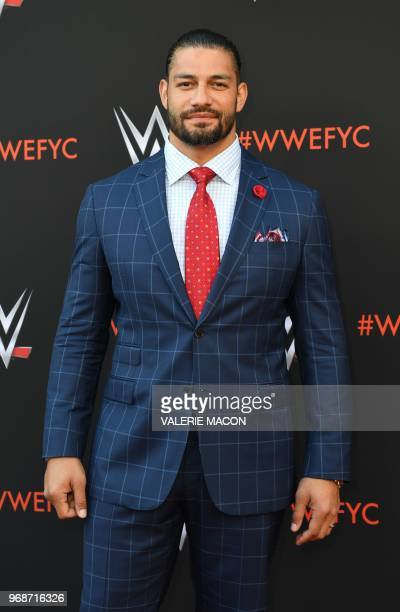 Wrestler Roman Reigns arrives at the firstever WWE Emmy For Your Consideration event at the TV Academy Saban Media Center in North Hollywood on June...
