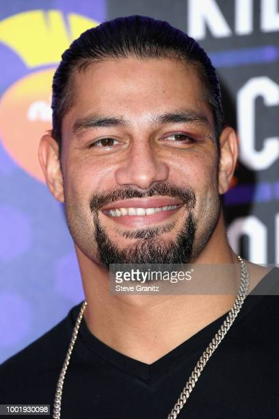 WWE wrestler Roman Reigns attends the Nickelodeon Kids' Choice Sports 2018 at Barker Hangar on July 19 2018 in Santa Monica California
