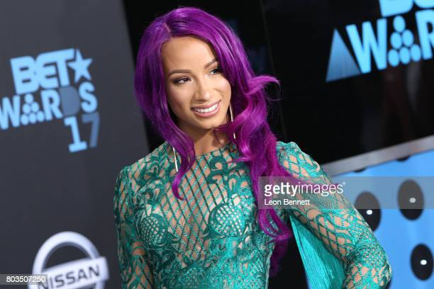 WWE wrestler Sasha Banks arrives at the 2017 BET Awards at Microsoft Theater on June 25 2017 in Los Angeles California