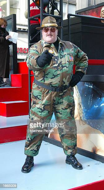 Wrestler Sgt Slaughter attends the 76th Annual Macy's Thanksgiving Day Parade in Herald Square November 28 2002 in New York City