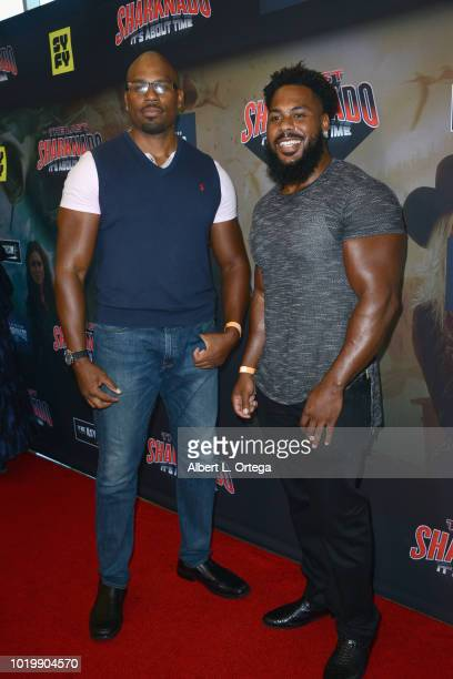 Wrestler Shad Gaspard and guest arrive for the Premiere Of The Asylum And Syfy's 'The Last Sharknado It's About Time' held at Cinemark Playa Vista on...