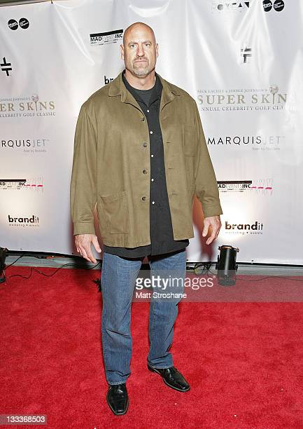 """Wrestler """"Stone Cold"""" Steve Austin arrives at the Super Skins Kickoff Party hosted by Nick Lachey and Jimmie Johnson at the Hula Bay Club on January..."""