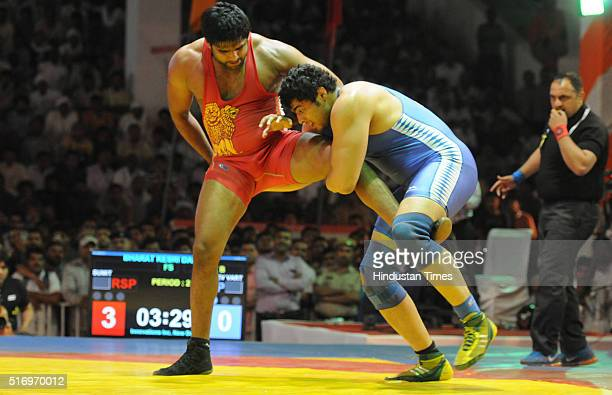 Wrestler Sumit V/S Dev vart in action during the Bharat Kesri Dangal in Tau Devilal Stadium on March 22 2016 in Gurgaon India