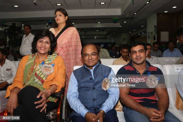 Wrestler Sushil Kumar and paralympian Deepa Malik during the launch of Neele Pankh an initiative by Police Families Welfare Society to make sports a...