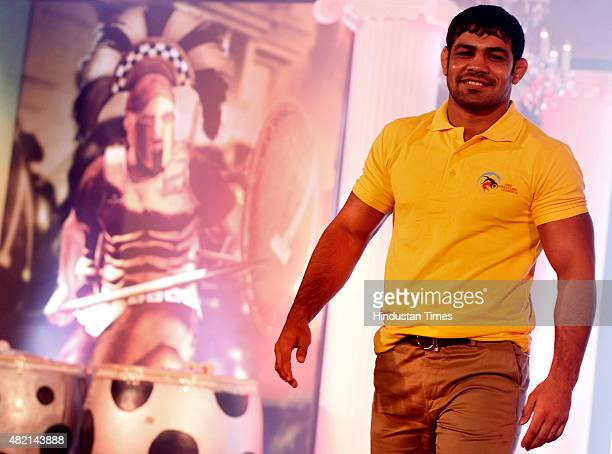 Wrestler Sushil Kumar poses on the ramp at the launch of Pro Wrestling League at Taj Mansingh Hotel on July 27 2015 in New Delhi India The inaugural...