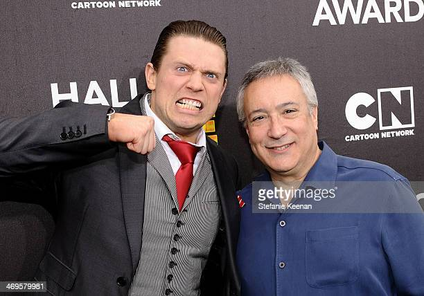 WWE wrestler The Miz and Cartoon Network President/COO Stuart Snyder attend Cartoon Network's fourth annual Hall of Game Awards at Barker Hangar on...