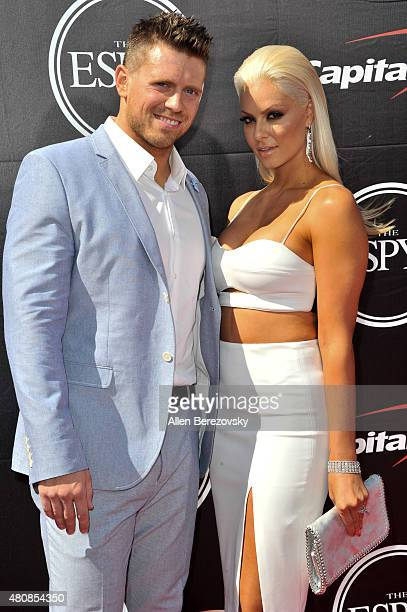 WWE wrestler The Miz and model Maryse Ouellet arrive at the 2015 ESPYS at Microsoft Theater on July 15 2015 in Los Angeles California