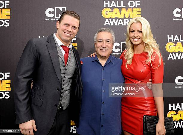 WWE wrestler The Miz Cartoon Network President/COO Stuart Snyder and wrestler Maryse Ouellet attend Cartoon Network's fourth annual Hall of Game...