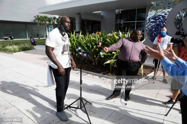 WWE wrestler Titus O'Neil talks with the press before the start of the Love Walk on June 27 2020 in Tampa Florida Thaddeus Bullard also known as WWE...
