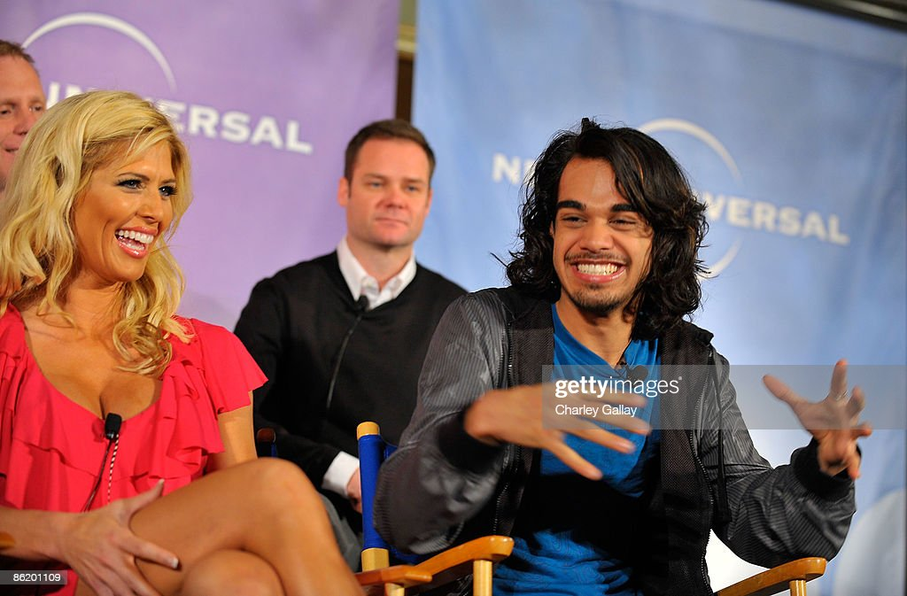 Wrestler Torrie Wilson (L) and former American Idol contestant Sanjaya Malakar attend a press conference for 'I'm a Celebrity Get Me Out Of Here!' at the Langham Hotel on April 24, 2009 in Pasadena, California.