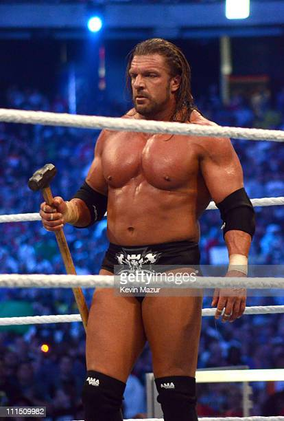 Wrestler Triple H during WrestleMania XXVII at Georgia Dome on April 3 2011 in Atlanta Georgia