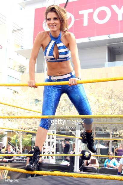 Wrestler/journalist Maria Menounos attends the WWE and E's Total Divas takeover of SummerSlam held at Nokia Plaza LA LIVE on August 18 2013 in Los...