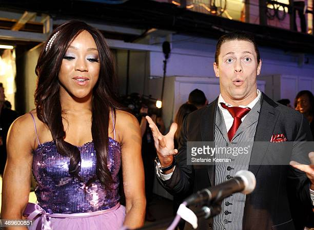 Wrestlers Alicia Fox and Michael Mizanin attend Cartoon Network's fourth annual Hall of Game Awards at Barker Hangar on February 15 2014 in Santa...