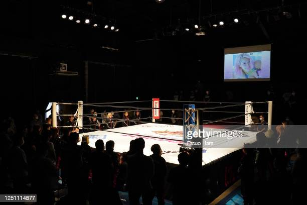 Wrestlers and fans observe a minute of silence for Hana Kimura who died at the age of 22 during the Women's ProWrestling 'Stardom' at the Shinkiba...